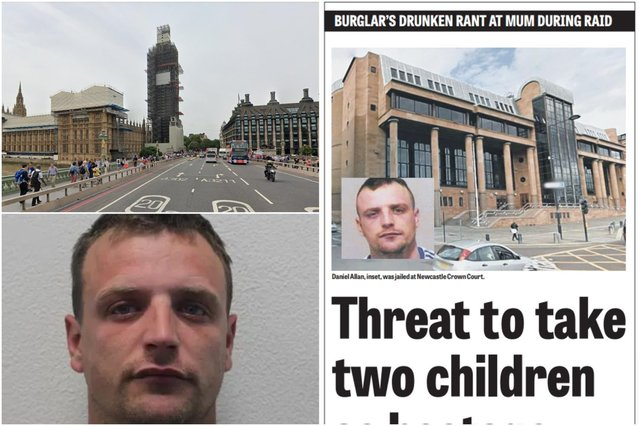 Daniel Allan, pictured by the Metropolitan Police bottom left and after his court appearance in Newcastle in 2017, has been sentenced for his part in disorder which broke out in Westminster in June. Image copyright Google Maps.