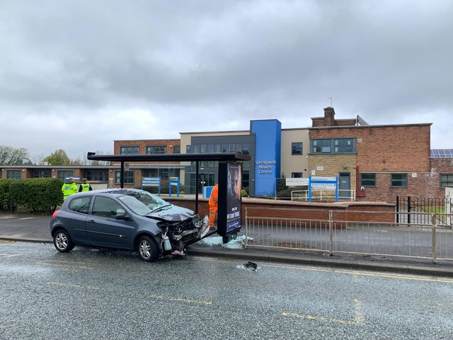 The front of the Renault Clio was left damaged by the collision.