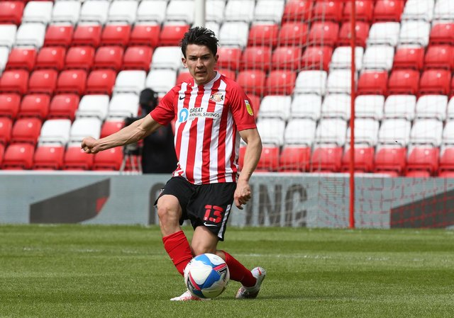 Luke O'Nien of Sunderland in action during the Sky Bet League One match between Sunderland and Northampton Town at Stadium of Light.