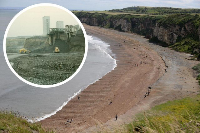 Blast Beach pictured in August 2020. Inset: The beach was used as an industrial dumping ground for four mines.