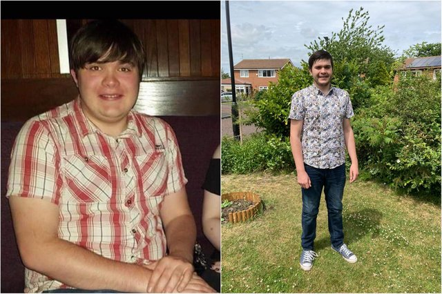 Adam Robson, 23, before and after his weight loss