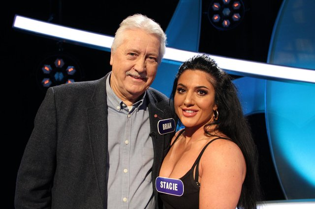 Brian Turner and Stacie Stewart appearing in Pointless. BBC/Endemol Shine UK Ltd t/a Remarkable Television Production/Sam Shepherd