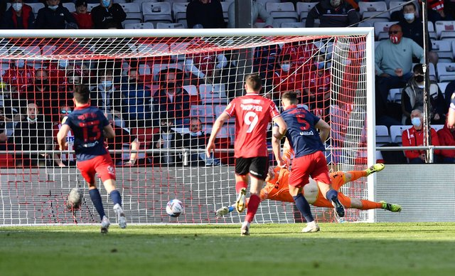 Tom Hopper puts Lincoln City into the lead at the LNER Stadium