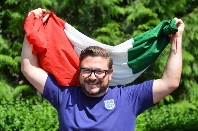 With his England shirt and Italian flag, Sergio Petrucci is off to Wembley