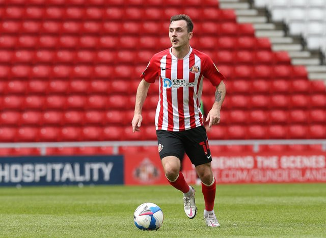 SUNDERLAND, ENGLAND - MAY 09: Josh Scowen of Sunderland in action during the Sky Bet League One match between Sunderland and Northampton Town at Stadium of Light on May 09, 2021 in Sunderland, England. (Photo by Pete Norton/Getty Images)