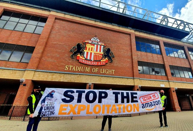 Protesters at the Stadium of Light.