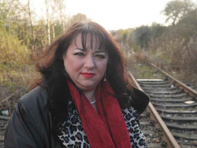 Sharon Hodgson inspects the abandoned Leamside Line
