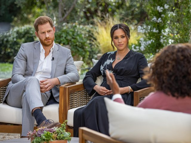 The Duke and Duchess of Sussex during their interview with Oprah Winfrey. Image by Joe Pugliese/Harpo Productions/PA.