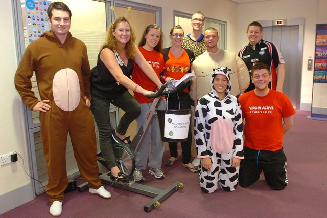 Staff at the NatWest branch in Fawcett Street, members of the Virgin Active Gym Staff taking part in a spin-a-thon in the branch as part of Children in Need fundraising.