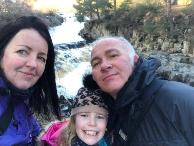 Darren Blyth with wife Mel and daughter, Abigail Blyth, nine.