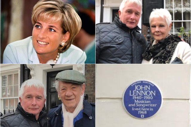Clockwise from top left; Princess Diana (PA image), Trevor Ramsay with Judi Dench, the John Lennon plaque installed by Trevor and Trevor with Ian McKellen.