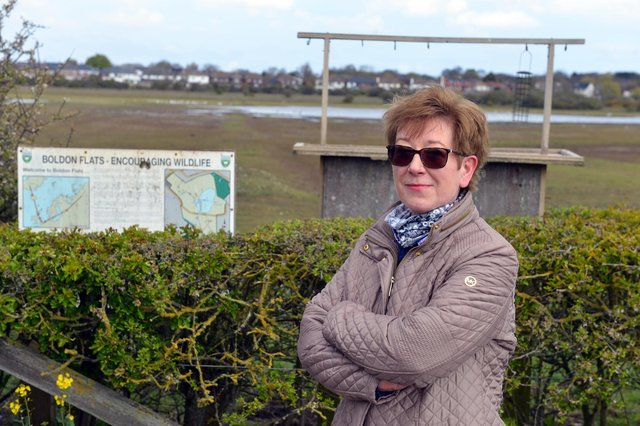East Boldon Forum member Delia McNally at Boldon Flats following swan attack from youths with a catapult.