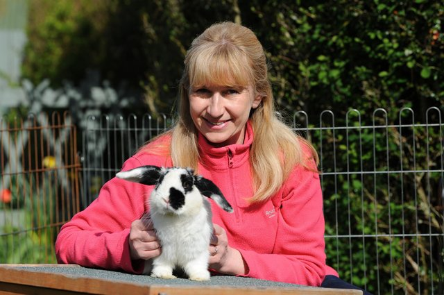 Linda Anderson is just one of Pawz for Thought's animal foster carers. Linda poses with Joe.