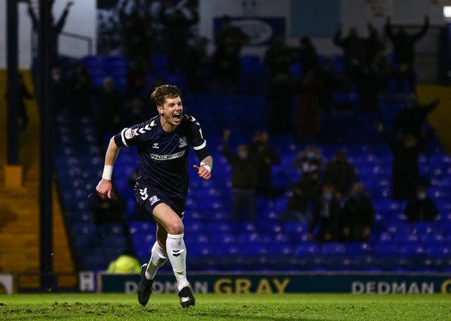 Greg Halford of Southend United celebrates his team's third goal during the Sky Bet League Two match between Southend United and Grimsby Town at Roots Hall.