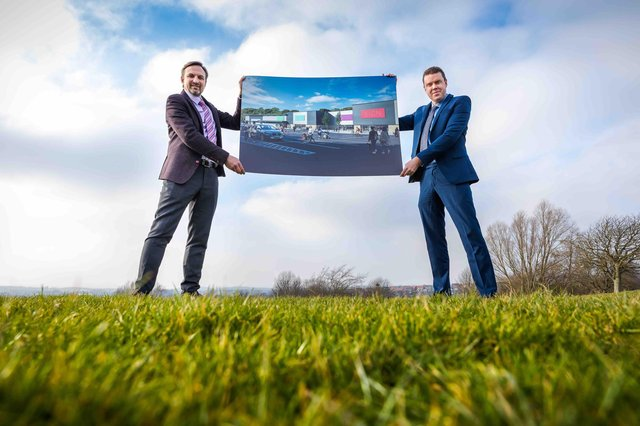 A major supermarket operator is opening on the planned retail park development by Hellens Group on the old Houghton Colliery Site. (L/R) Cllr Kevin Johnston and Gavin Cordwell-Smith (Chief Exectove of Hellens Group)