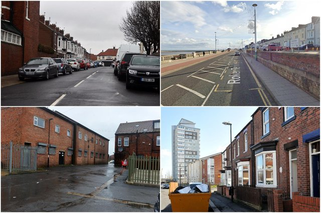 (clockwise from top left) Park Gate, Roker Terrace (Picture: Google), Zetland Street and Dixon's Square