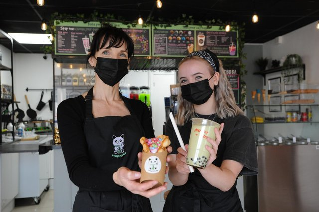Mother and daughter Sam and Millie Johnston owners of Lucky Cat Boba, Park Lane, Sunderland.