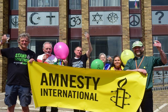 Celebrating Amnesty International's 60th anniversary at St Peter's Campus, from left,  Steve Newman chair of Wearside Amnesty International Group, Bob Miller, Dick Curran, Hana Knotek, Maria Lucila Velez and Rev Chris Howson. Picture by Kevin Brady.