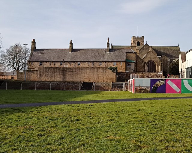 The rear of the almshouses.