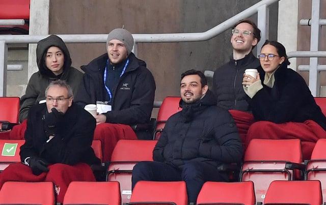 Steve Davison (bottom left) at the Stadium of Light with Kyril Louis-Dreyfus