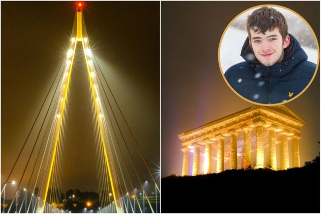 Sunderland's Northern Spire Bridge and Penshaw Monument were lit up yellow in honour of South Shields teen Kai Heslop. Images by Steven Lomas.