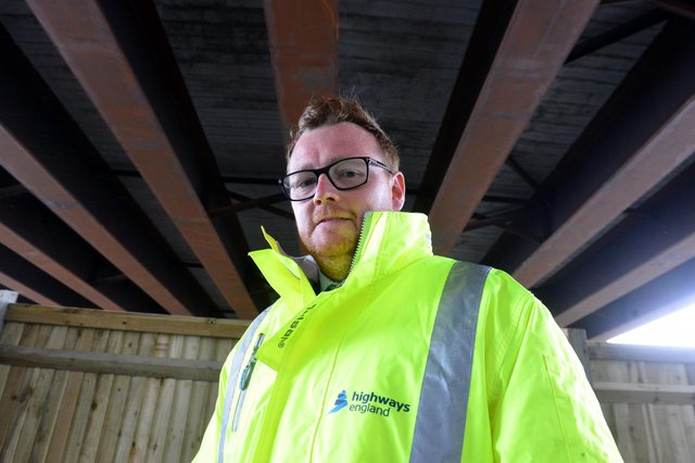 Highways England project manager Liam Quirk at the flyover for the official completion of the Testo's junction upgrade.