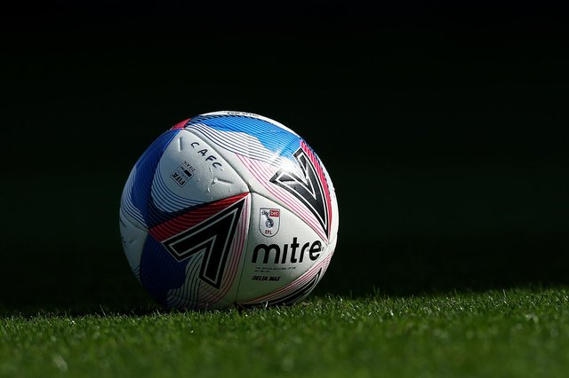: A detailed view of the Mitre Delta Max EFL match ball