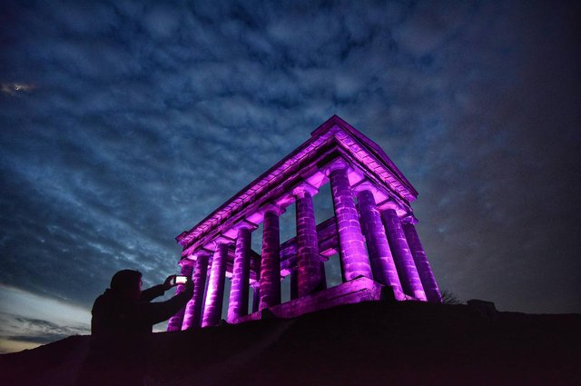 Penshaw Monument lit up as a mark of respect to Prince Philip. Pictures by North News and Pictures