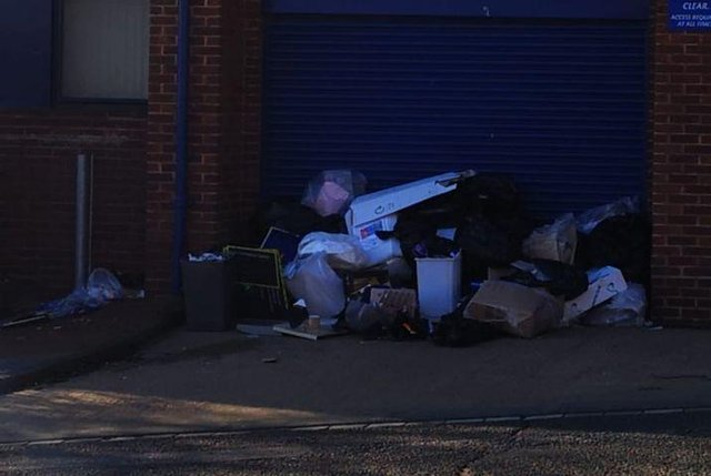 A large pile of rubbish was found on Stoney Lane, outside Southwick's Job Centre.