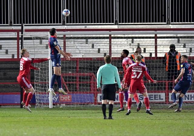 Ross Stewart scores against Accrington Stanley earlier this season