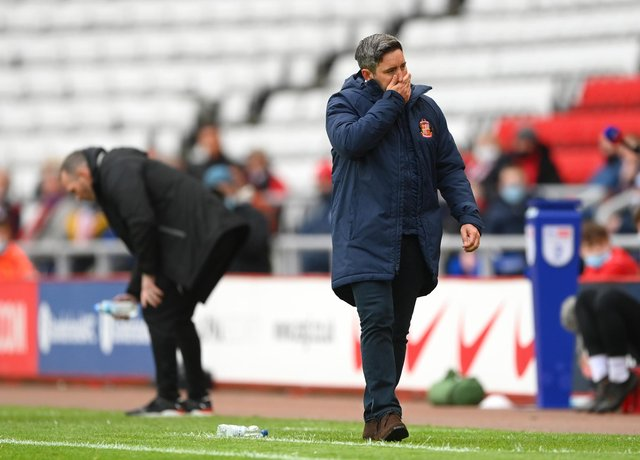 SUNDERLAND, ENGLAND - MAY 22: Sunderland manager Lee Johnson reacts during the Sky Bet League One Play-off Semi Final 2nd Leg match between Sunderland and Lincoln City  at Stadium of Light on May 22, 2021 in Sunderland, England. (Photo by Stu Forster/Getty Images)