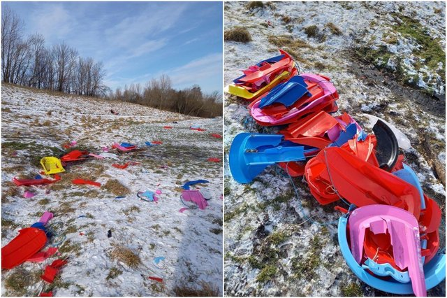 Photos taken by Becca Harvey after she and partner Michael Ward and his daughter Sasha arrived at the park around Silkworth Ski Slope to find bits of broken sledge littering the ground.