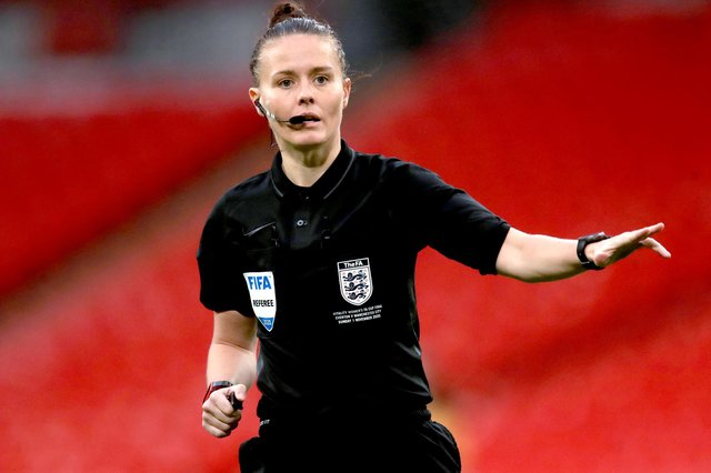 Referee Rebecca Welch during the Women's FA Cup Final at Wembley Stadium, London.