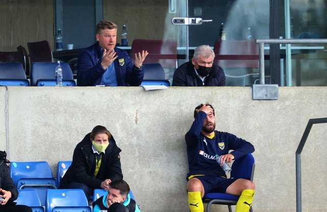Karl Robinson, manager of Oxford United reacts during the Sky Bet League One Play-off Semi Final 1st Leg match between Oxford United and Blackpool.