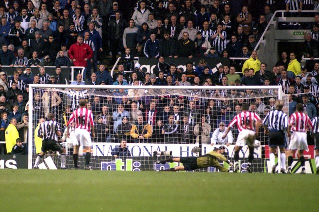 Newcastle 1, Sunderland 2. Thomas Sorensen's famous penalty save against Alan Shearer on November 18, 2000.