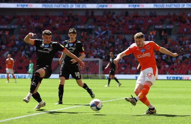 Elliot Embleton in action for Blackpool.