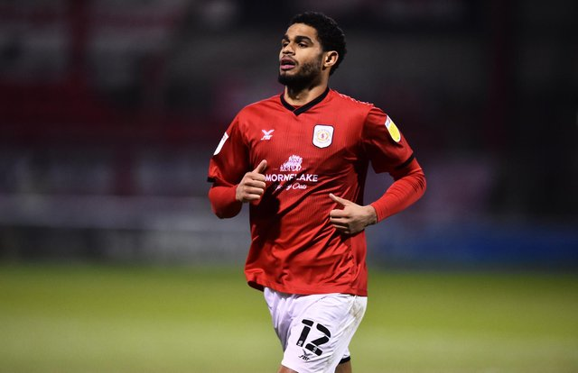 Mikael Mandron of Crewe looks on during the Sky Bet League One match between Crewe Alexandra and Doncaster Rovers at The Alexandra Stadium.