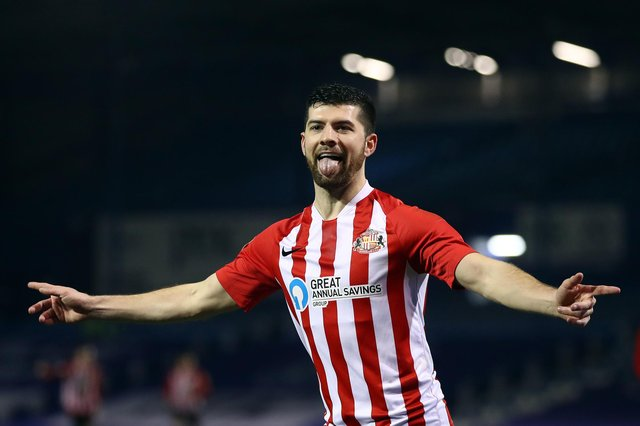 Jordan Jones of Sunderland celebrates scoring their second goal during the Sky Bet League One match between Portsmouth and Sunderland at Fratton Park on March 9, 2021.