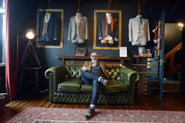 Master Debonair co-founder Simon Whitaker inside the new made to measure build your own suit showroom