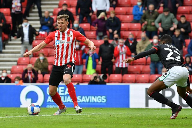 Sunderland striker Charlie Wyke in action against Lincoln City.