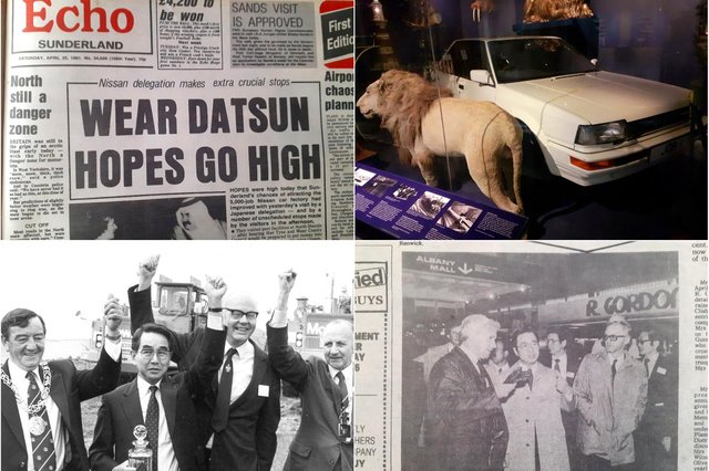 Clockwise from top left, the Echo's headline of April 25, 1982, the first car made at the Nissan plant in Sunderland Museum, the Nissan delegation visits the Galleries in 1981 and the ceremonial digging when work began in July 1984.
