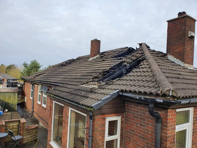 A roof was damaged in the suspected arson attack