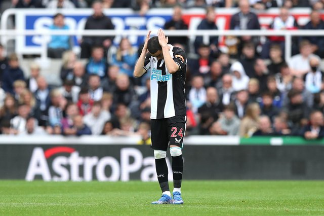 NEWCASTLE UPON TYNE, ENGLAND - AUGUST 15: Miguel Almiron of Newcastle United looks dejected during the Premier League match between Newcastle United  and  West Ham United at St. James Park on August 15, 2021 in Newcastle upon Tyne, England. (Photo by George Wood/Getty Images)