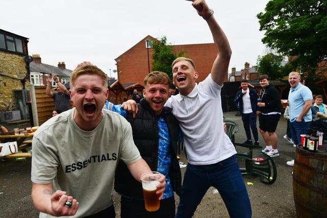 Fans Sam Miller, Tom Henderson and John Thompson at the final whistle