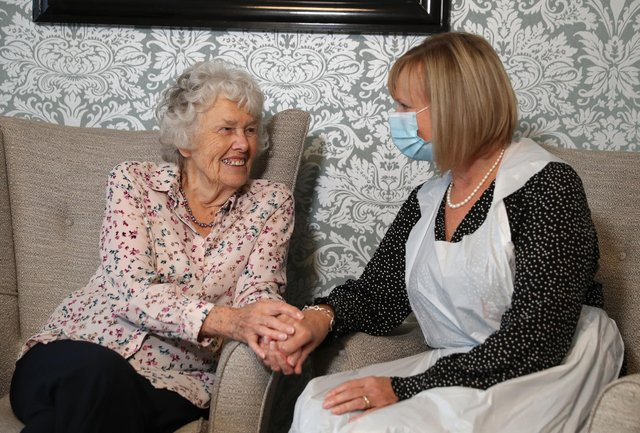 """Care home residents will be able to spend time with loved ones in """"low risk"""" visits without having to self-isolate on their return, the Government has said. Picture: Andrew Matthews/PA Wire."""