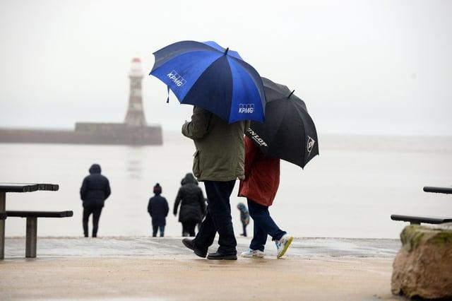 Rain fall at Marine Walk, Roker.