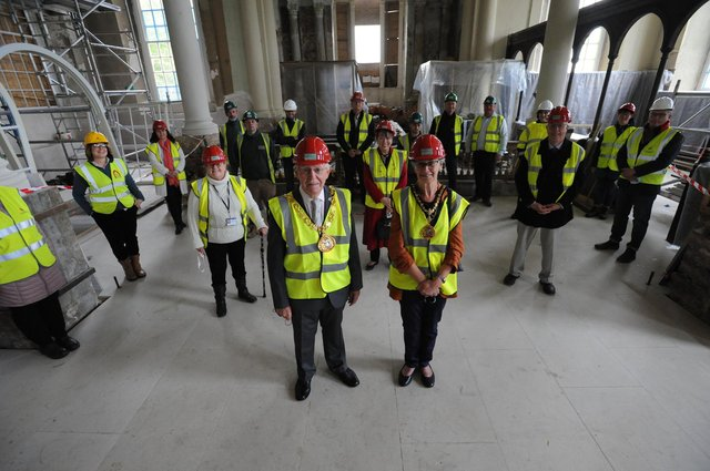 The Mayor of Sunderland Coun Harry Trueman visits Holy Trinity church to see current restoration works.