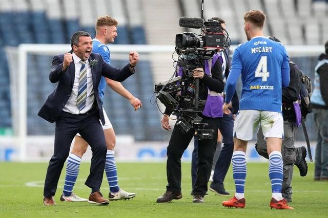 Callum Davidson, manager of St Johnstone celebrates on full time with Jamie McCart of St Johnstone.