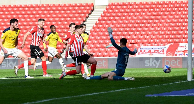 Lynden Gooch scores in the Good Friday win over Oxford United