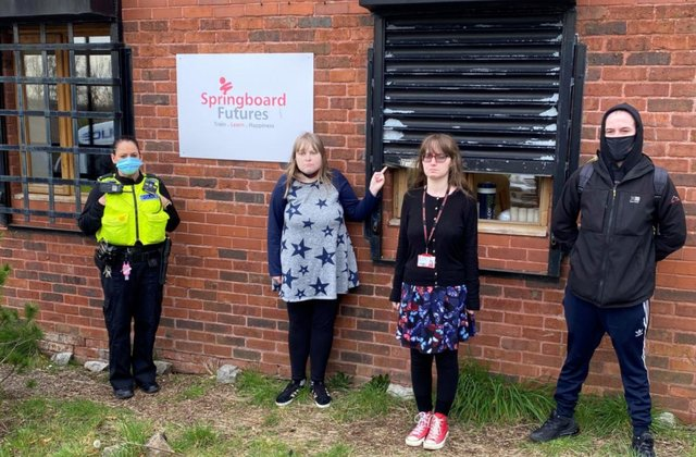 Northumbria Police Pc Juliet Clark with Springboard learners, from left, Georgia, Sophie and Declan.